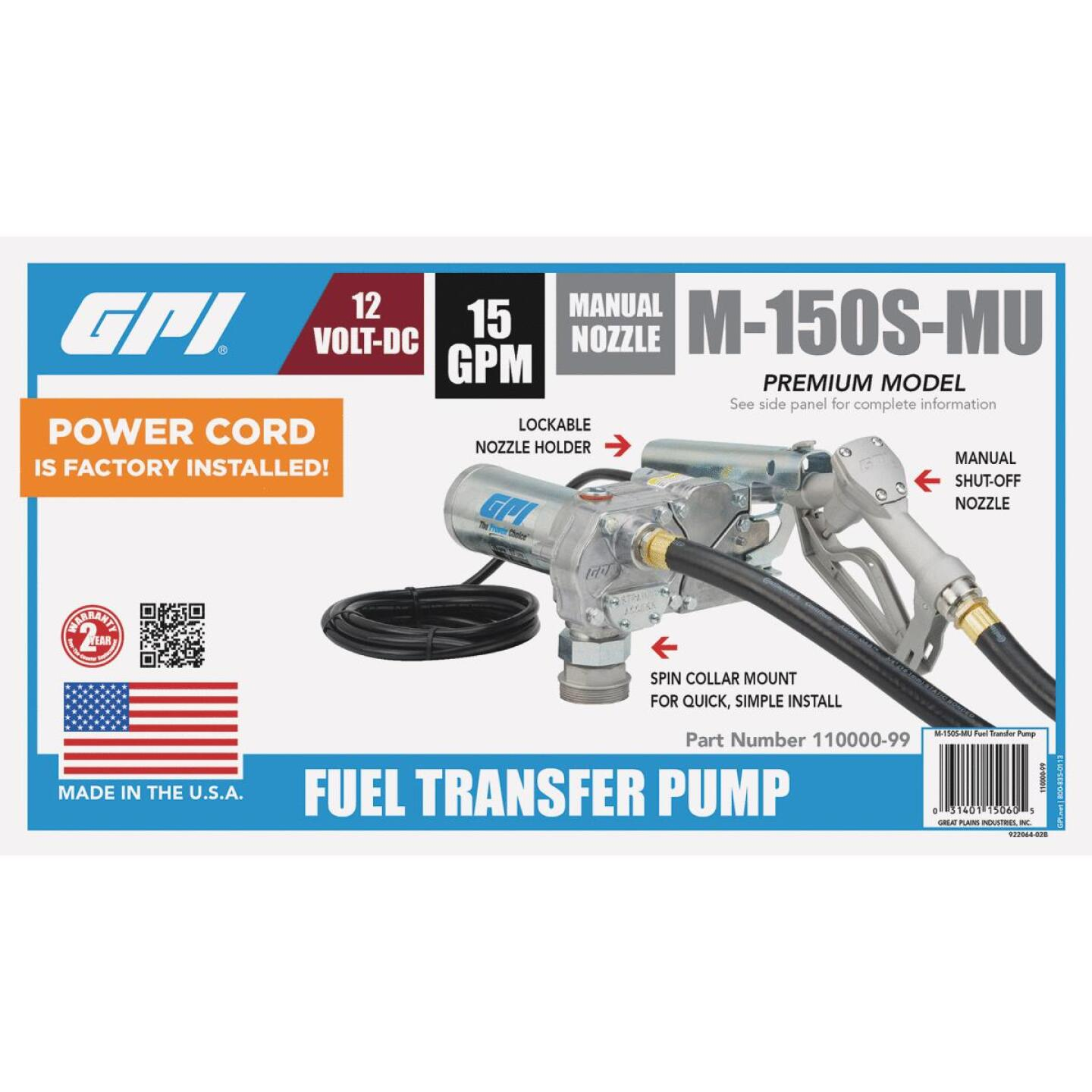 GPI 12V DC, 15 GPM Manual Fuel Transfer Pump Image 3