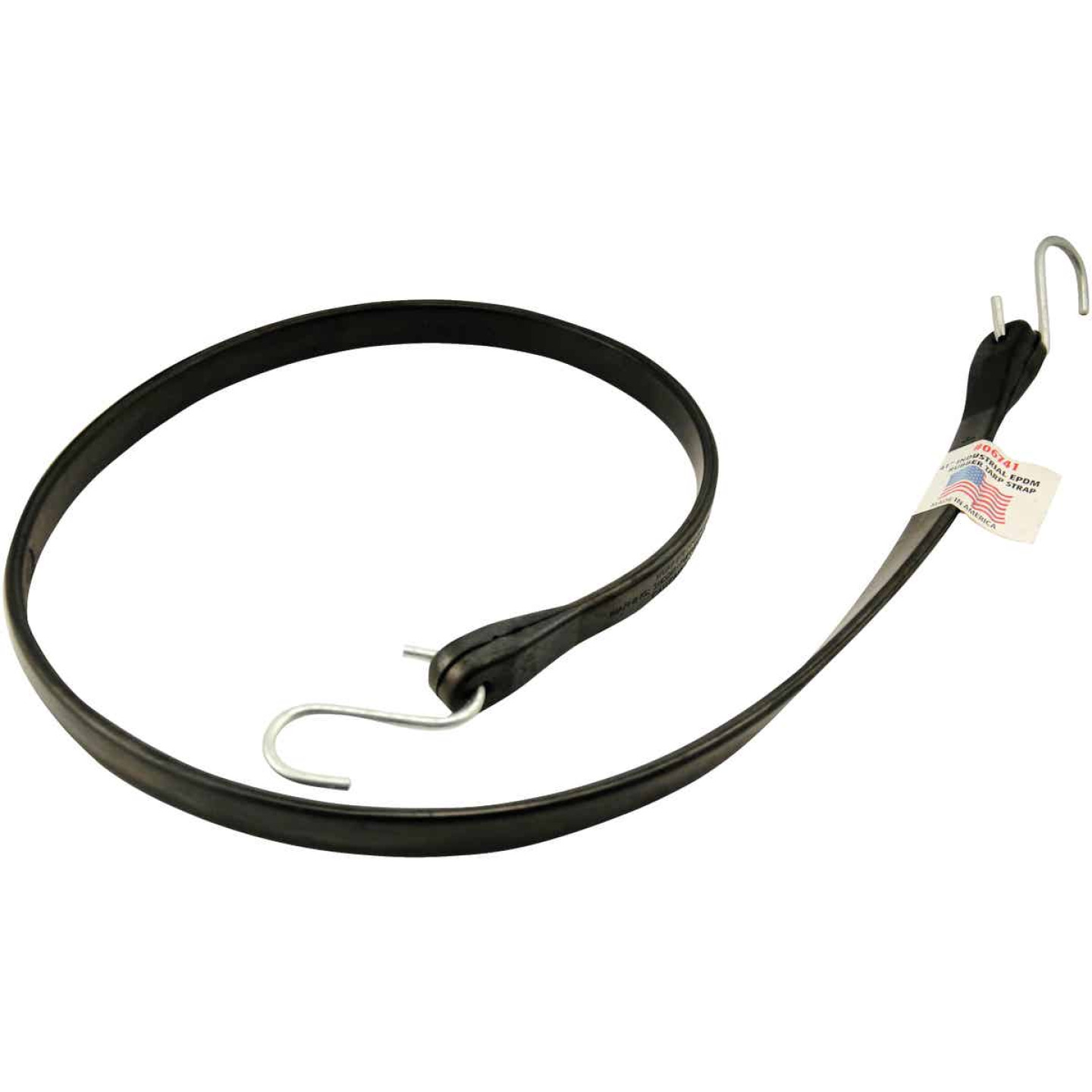 Erickson 44 In. Hook-to-Hook Black Industrial EDPM Rubber Tarp Strap Image 1