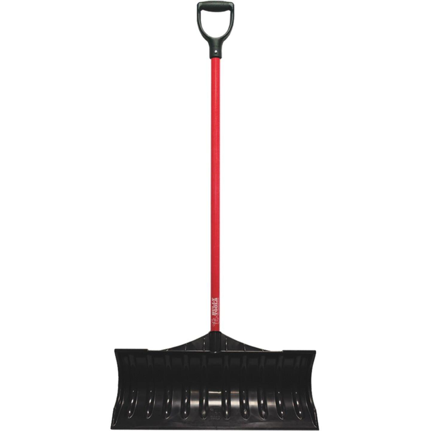 Bully Tools 27 In. Poly Snow Pusher with 46.5 In. Fiberglass Handle Image 1