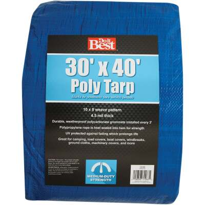 Do it Best Blue Woven 30 Ft. x 40 Ft. Medium Duty Poly Tarp