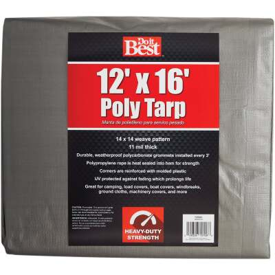 Do it Best Silver Woven 12 Ft. x 16 Ft. Heavy Duty Poly Tarp