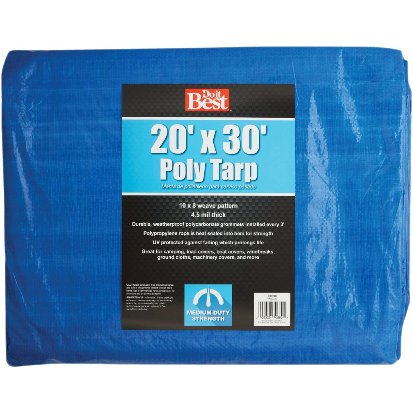 Do it Best Blue Woven 20 Ft. x 30 Ft. Medium Duty Poly Tarp Image 1