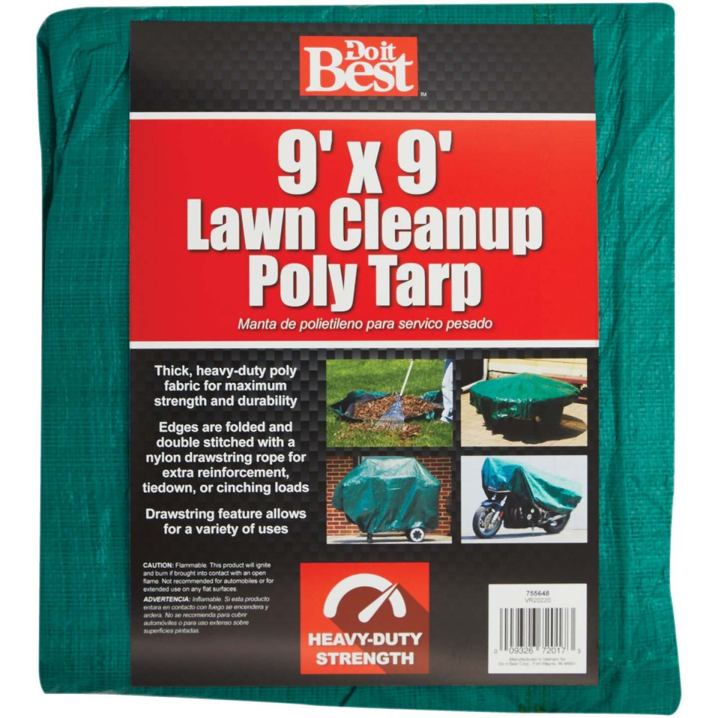 Do it Best 9 Ft. x 9 Ft. Poly Fabric Green Lawn Cleanup Tarp Image 1