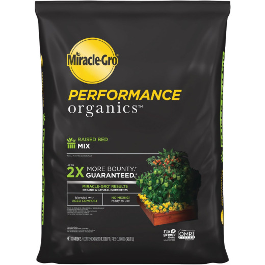 Miracle-Gro Performance Organics 1.3 Cu. Ft. 42 Lb. Raised Bed Vegetables, Fruits, Herbs Garden Soil