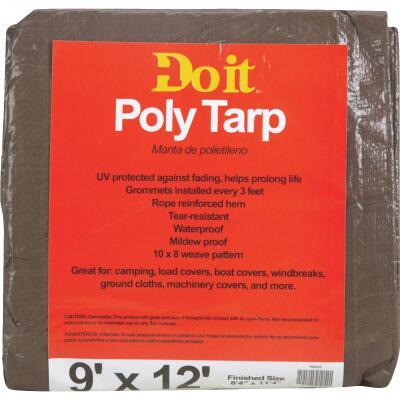Do it Best 1 Side Green/1 Side Brown Woven 9 Ft. x 12 Ft. Medium Duty Poly Tarp