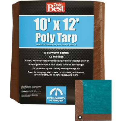 Do it Best 1 Side Green/1 Side Brown Woven 10 Ft. x 12 Ft. Medium Duty Poly Tarp