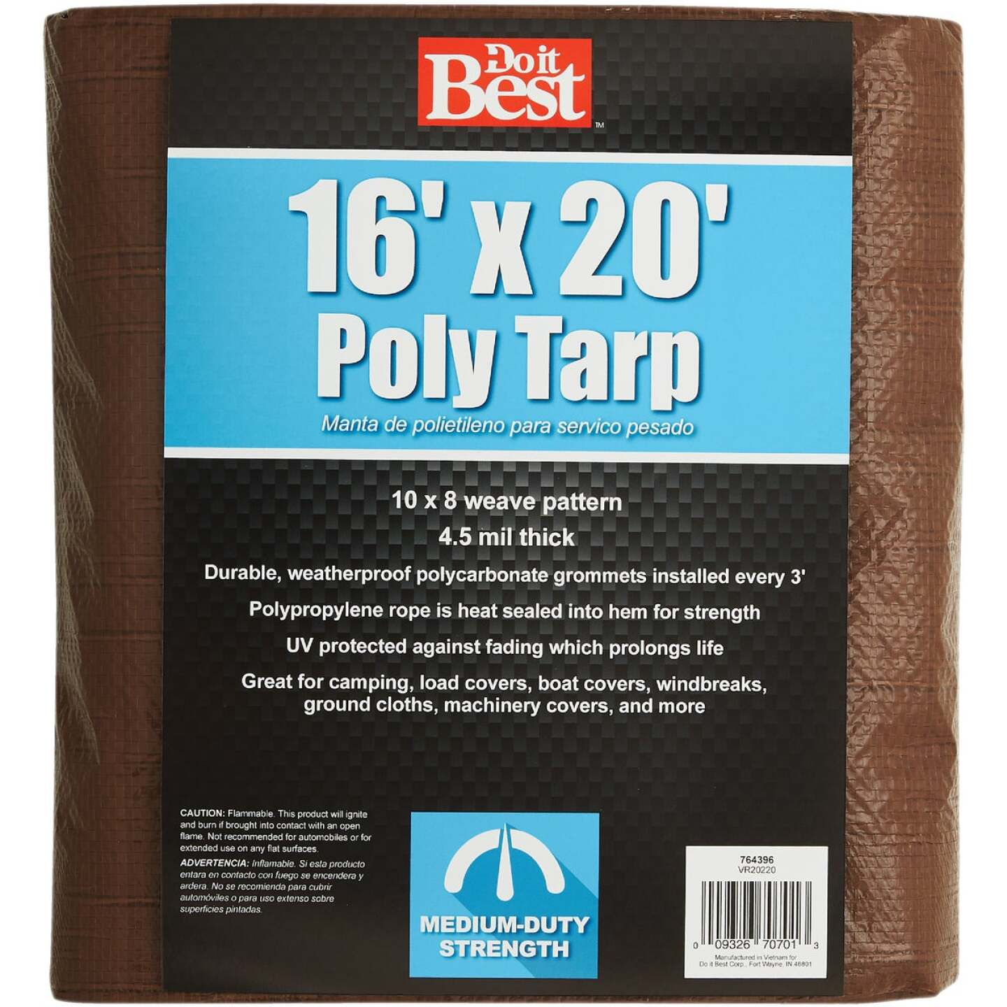 Do it Best 1 Side Green/1 Side Brown Woven 16 Ft. x 20 Ft. Medium Duty Poly Tarp Image 2