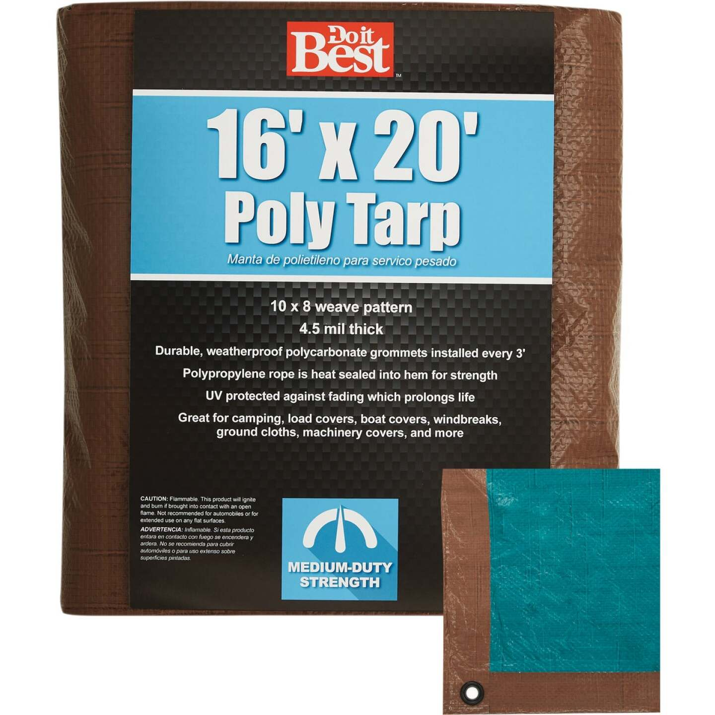 Do it Best 1 Side Green/1 Side Brown Woven 16 Ft. x 20 Ft. Medium Duty Poly Tarp Image 1