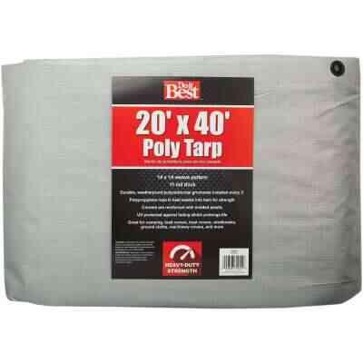 Do it Best Silver Woven 20 Ft. x 40 Ft. Heavy Duty Poly Tarp